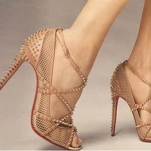 Christian Louboutin Shoes - NEW Christian Louboutin Nude Alarc Spiked Heels 38